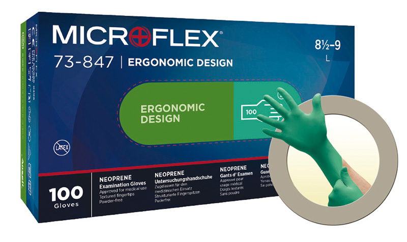 Microflex®73-847 latex-free gloves (previously : Neopro Green)