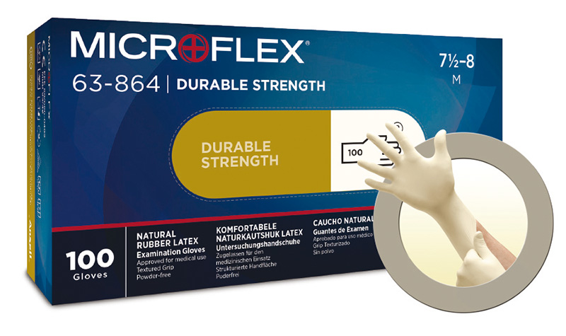 Microflex®63-864 powder-free latex gloves (previously : Diamond Grip Plus)
