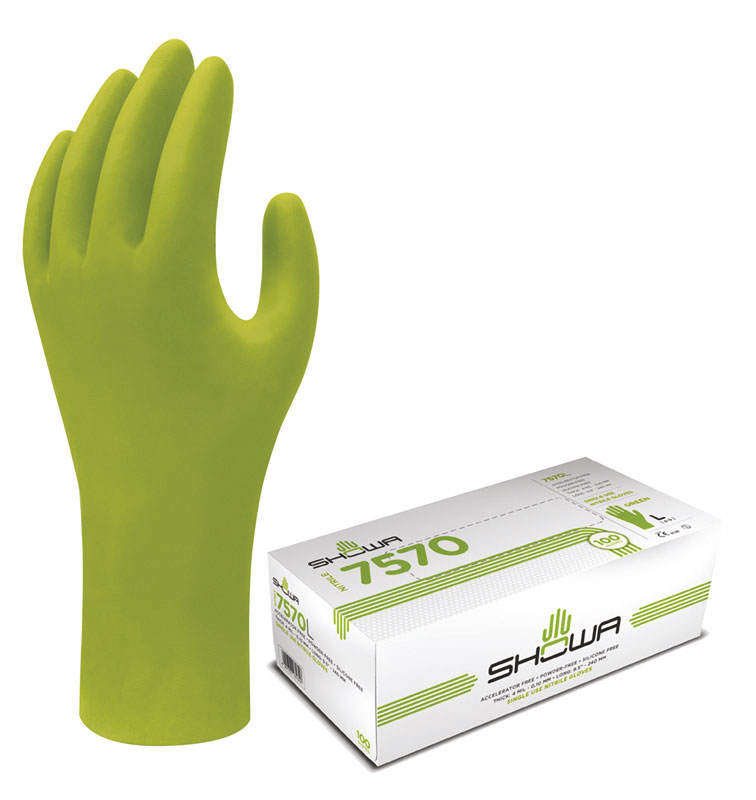 Showa Gloves, 100% nitrile- high visibility green