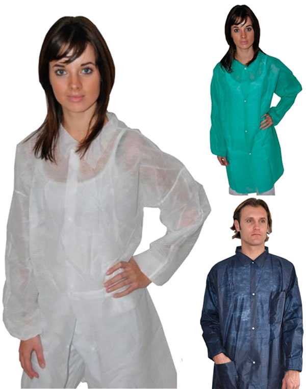 Polypropylene labcoats with snap fasteners