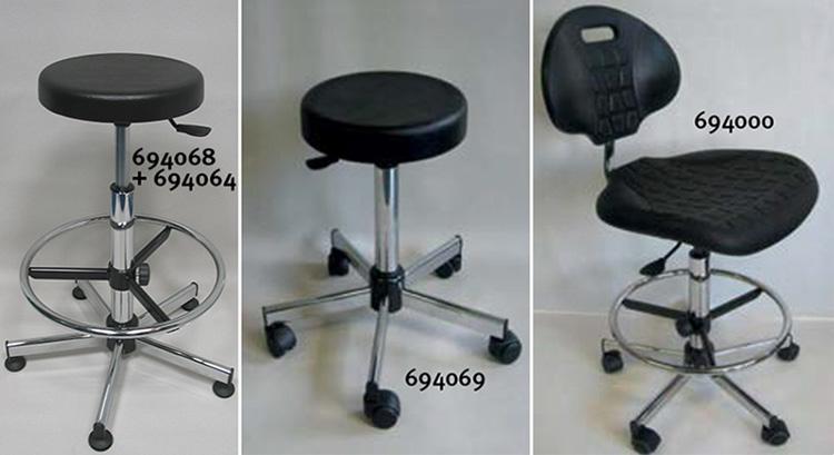 Codice 694000 sedia tecnica pu nero 5 roulette altezza del