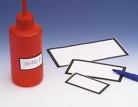 Plastic labels with black border